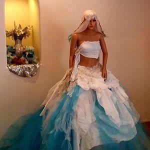 DENALI Turquoise & White Boho Wedding Ballgown Set